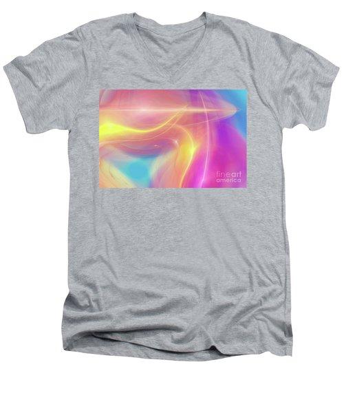 Neon Light  Cosmic Rays Men's V-Neck T-Shirt
