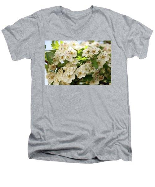 Neston.  Hawthorn Blossom. Men's V-Neck T-Shirt