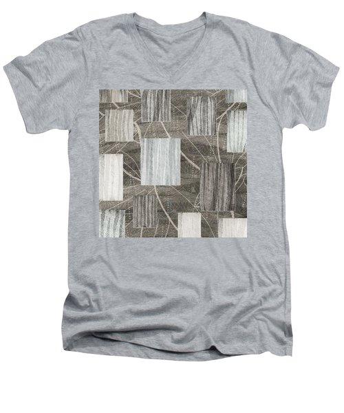 Neutral Leaf Print Squares Cream Men's V-Neck T-Shirt