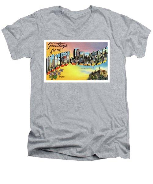 New Jersey Greetings - Version 2 Men's V-Neck T-Shirt