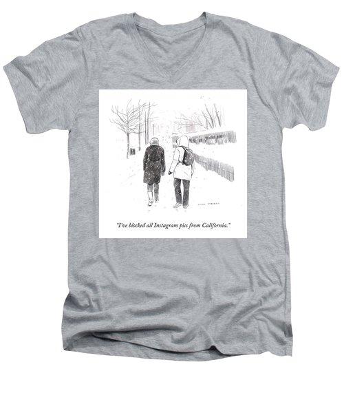 New York Snowstorm Men's V-Neck T-Shirt