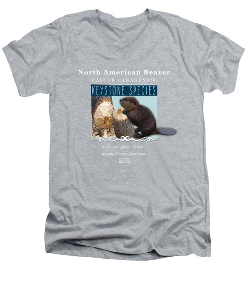 North American Beaver Men's V-Neck T-Shirt