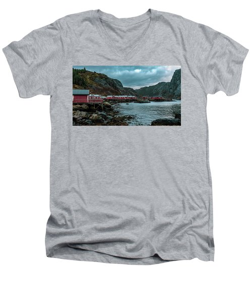 Norway Panoramic View Of Lofoten Islands In Norway With Sunset Scenic Men's V-Neck T-Shirt