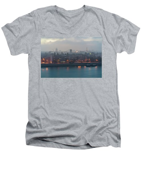Novi Sad Night Cityscape Men's V-Neck T-Shirt