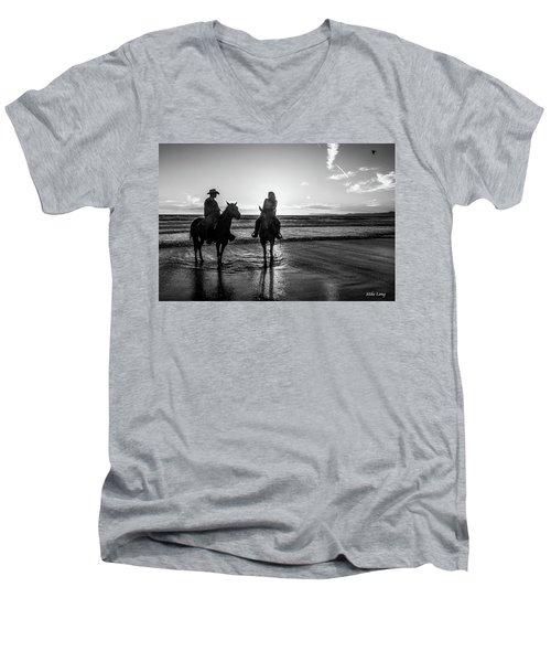 Ocean Sunset On Horseback Men's V-Neck T-Shirt