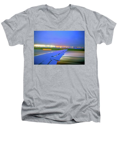 O'hare Night Takeoff Men's V-Neck T-Shirt