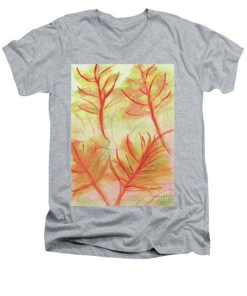 Orange Fanciful Leaves Men's V-Neck T-Shirt