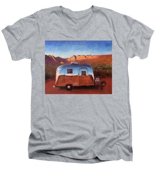 Orange Light On Red Rocks Men's V-Neck T-Shirt