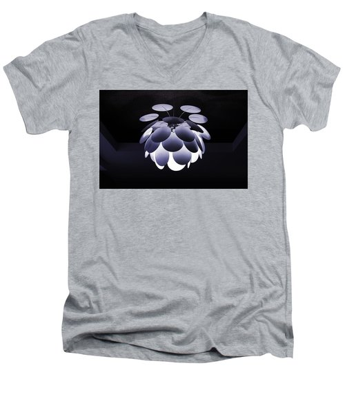 Men's V-Neck T-Shirt featuring the photograph Ornamental Ceiling Light Fixture - Blue by Debi Dalio