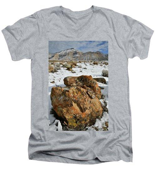 Ornate Colorful Boulders In The Book Cliffs Men's V-Neck T-Shirt