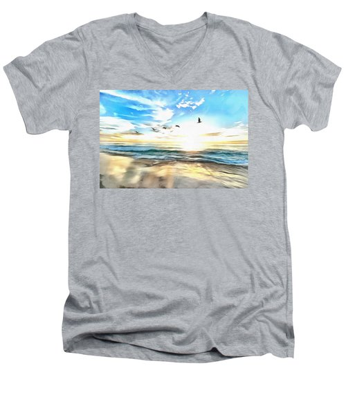Men's V-Neck T-Shirt featuring the painting Outer Banks by Harry Warrick