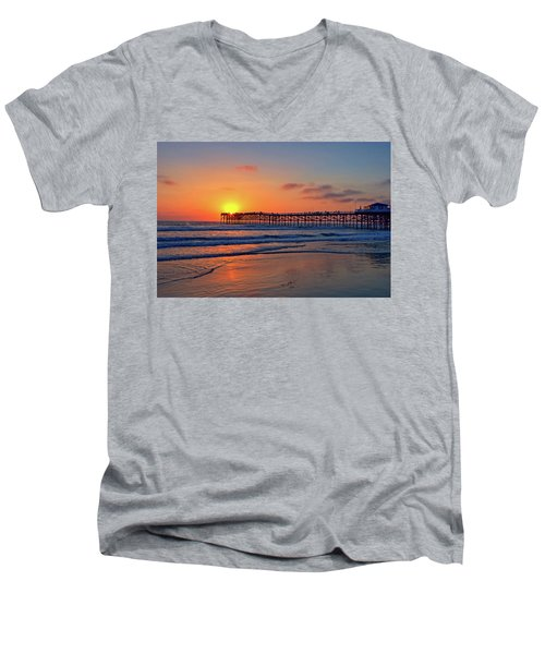 Pacific Beach Pier Sunset Men's V-Neck T-Shirt