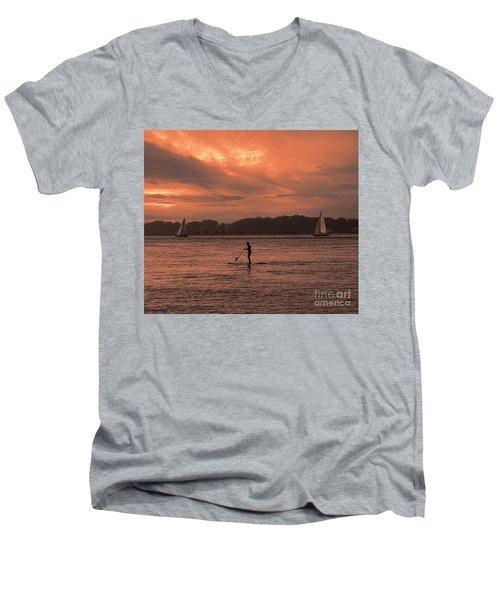Paddleboarding On The Great Peconic Bay Men's V-Neck T-Shirt