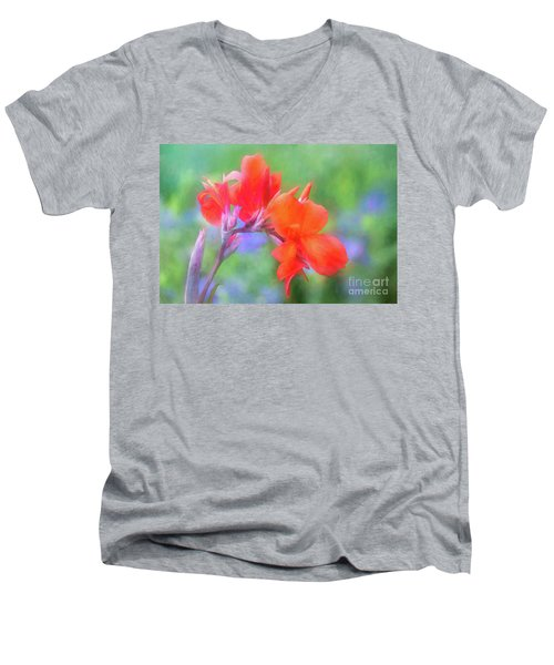Painted Canna In The Evening Light Men's V-Neck T-Shirt