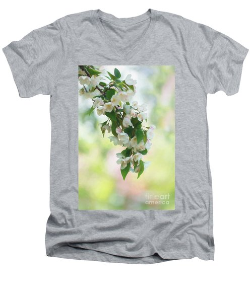 Painted Crabapple Blossom Cascade Men's V-Neck T-Shirt