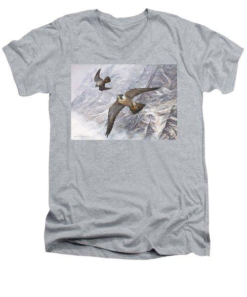Pair Of Peregrine Falcons In Flight Men's V-Neck T-Shirt