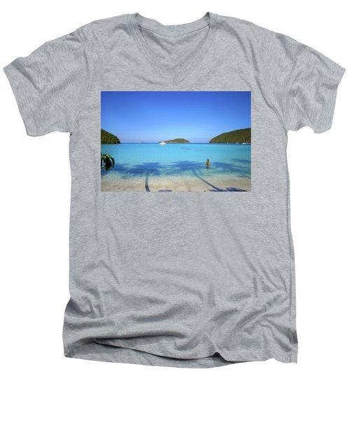 Palm Shadows On The Atlantic Men's V-Neck T-Shirt