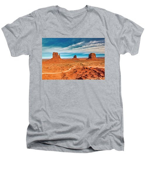 Men's V-Neck T-Shirt featuring the photograph Panoramic Monument Valley by Andy Crawford