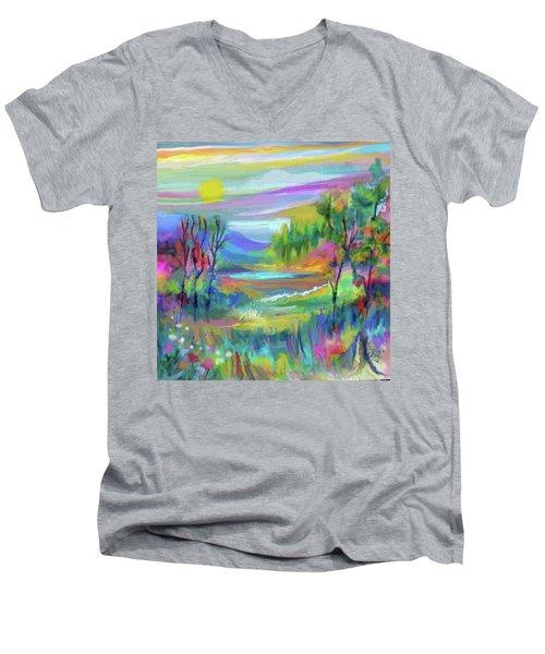 Pastel Landscape Men's V-Neck T-Shirt