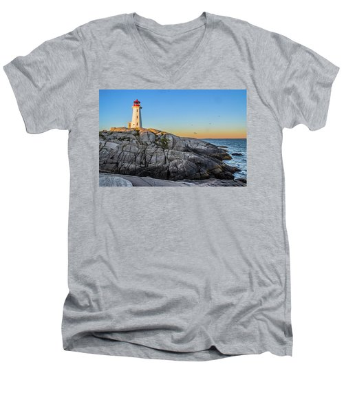 Peggys Cove Lighthouse Men's V-Neck T-Shirt