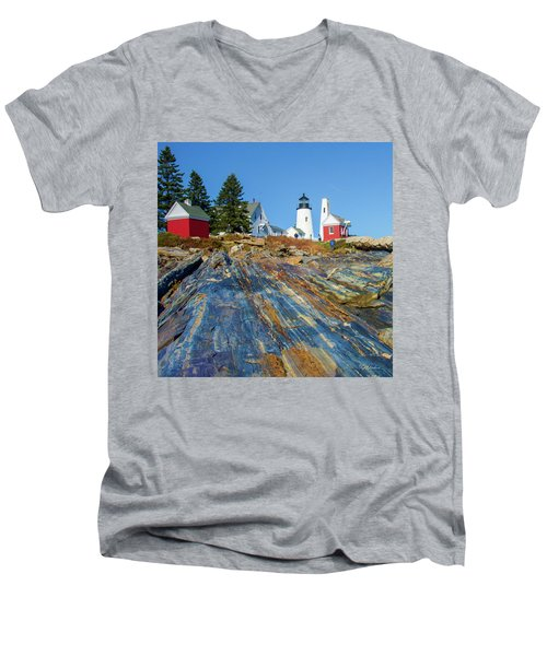 Men's V-Neck T-Shirt featuring the photograph Pemaquid Point Lighthouse  by Tim Kathka