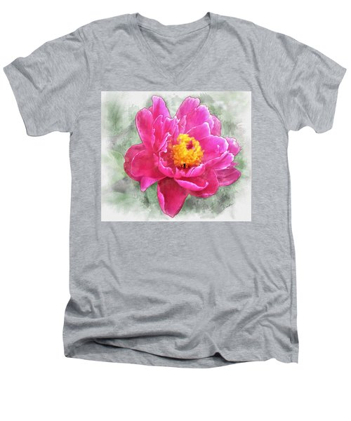 Peony And Bee Men's V-Neck T-Shirt