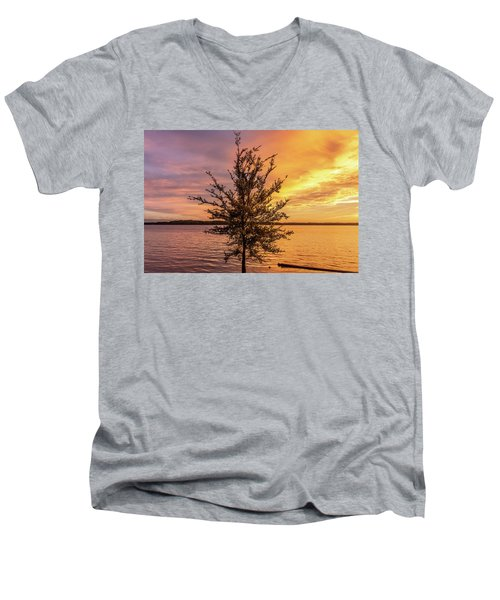 Percy Priest Lake Sunset Young Tree Men's V-Neck T-Shirt