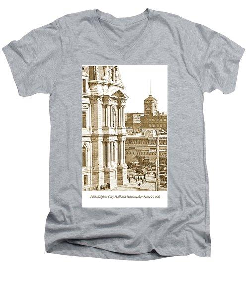 Philadelphia City Hall And Wanamaker Store C 1900 Vintage Photog Men's V-Neck T-Shirt