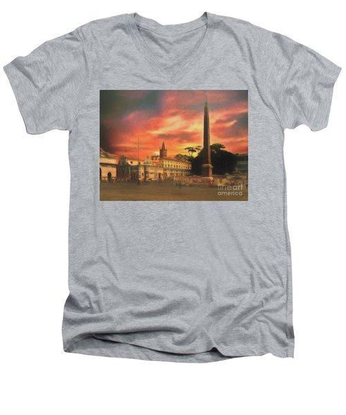 Piazza Del Popolo Rome Men's V-Neck T-Shirt