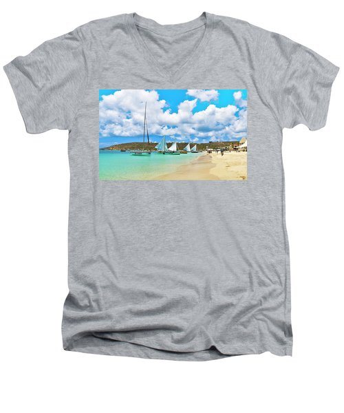 Picture Perfect Day For Sailing In Anguilla Men's V-Neck T-Shirt