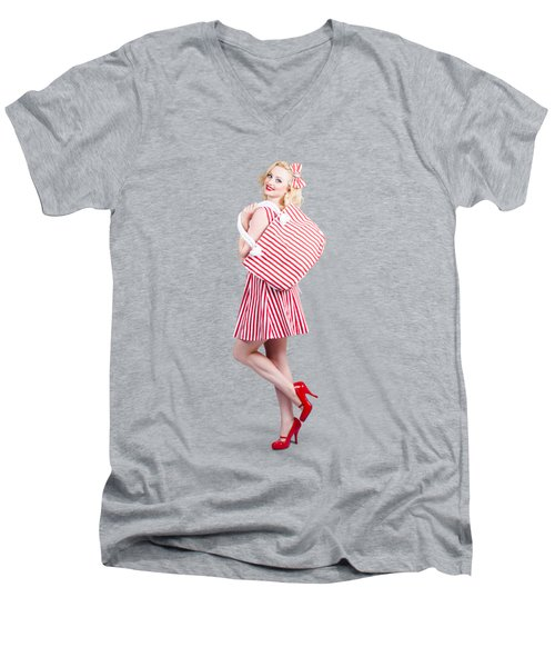 Pin Up Girl Wearing Stripped Red Dress Holding Bag Men's V-Neck T-Shirt