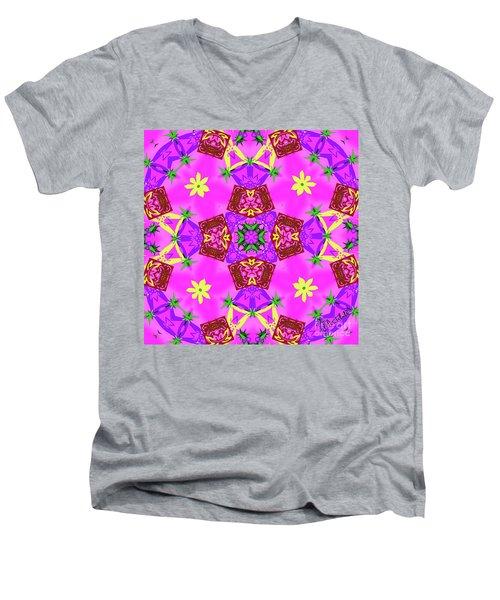 Pink 3 Men's V-Neck T-Shirt
