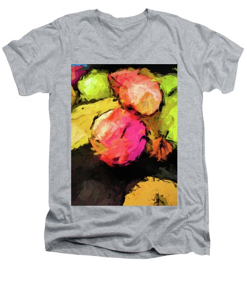Pink And Green Apples With The Yellow Banana Men's V-Neck T-Shirt