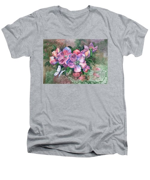 Pink Bloom Apple Tree And Butterfly Men's V-Neck T-Shirt