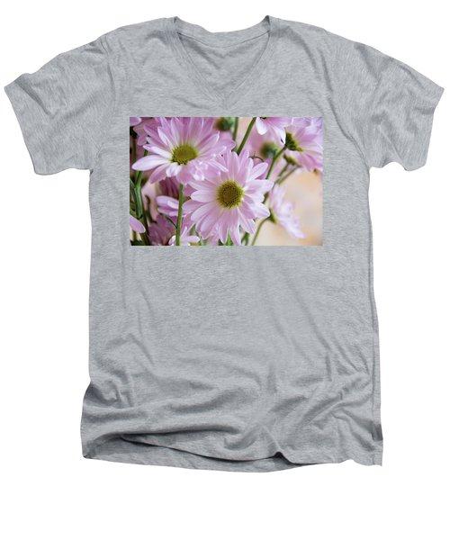 Pink Daisies-1 Men's V-Neck T-Shirt