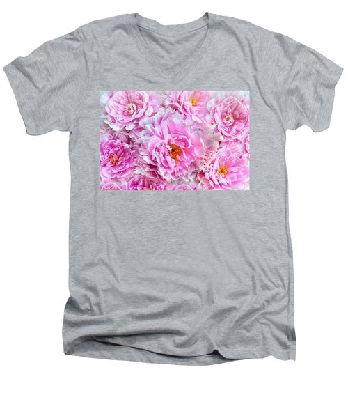 Pink Flowers Everywhere Men's V-Neck T-Shirt