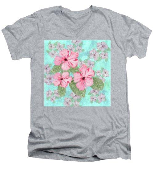Pink Hibiscus Print On Aqua Men's V-Neck T-Shirt