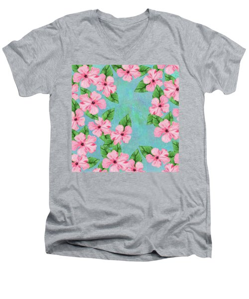 Pink Hibiscus Tropical Floral Print Men's V-Neck T-Shirt