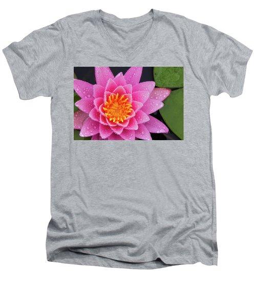 Pink Petals In The Rain  Men's V-Neck T-Shirt