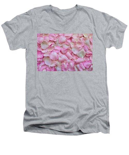 Pink Rose Petals Men's V-Neck T-Shirt