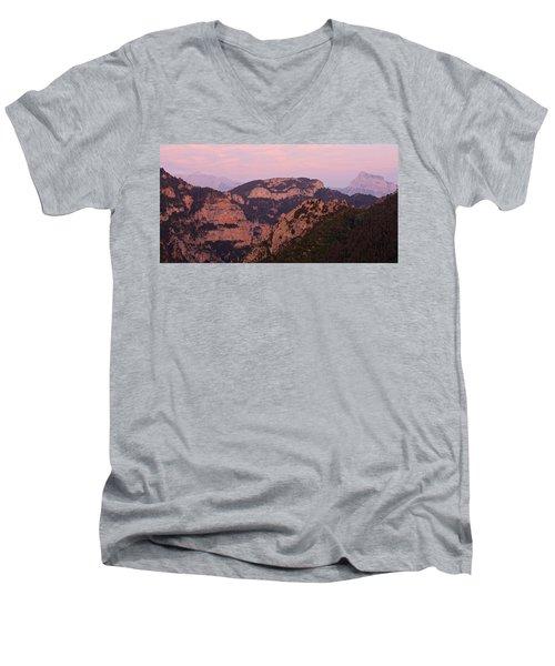 Pink Skies Above Pena Montanesa Men's V-Neck T-Shirt