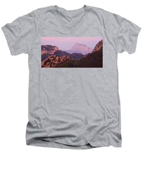 Pink Skies And Alpen Glow In The Anisclo Canyon Men's V-Neck T-Shirt