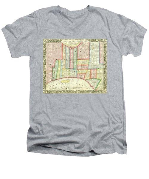 Plan Of Philadelphia, 1860 Men's V-Neck T-Shirt