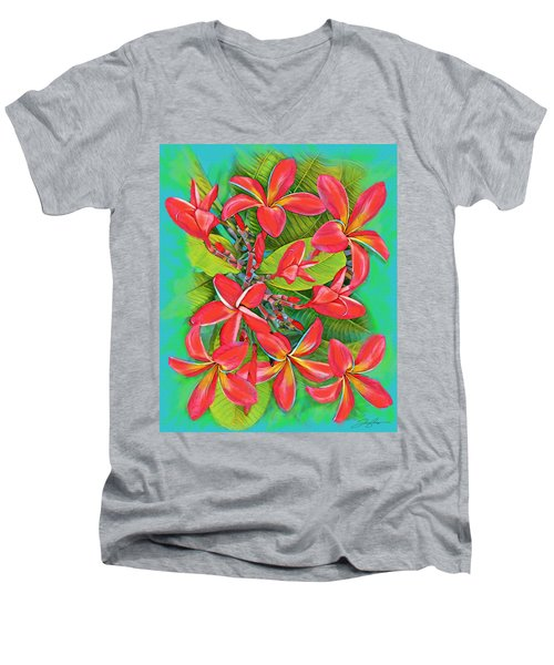 Plumeria Sunburst Men's V-Neck T-Shirt
