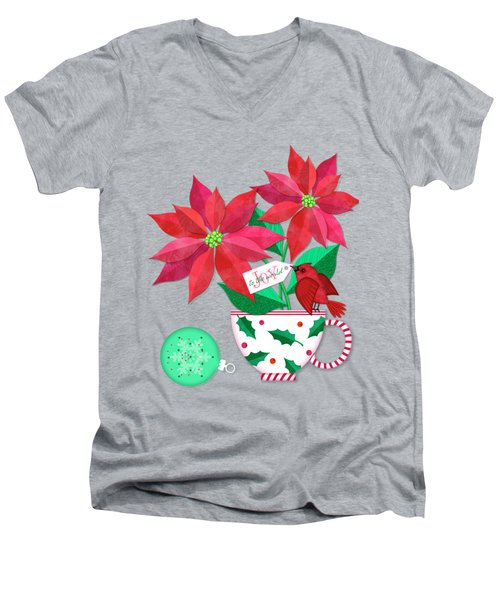 Poinsettia In Christmas Cup Men's V-Neck T-Shirt