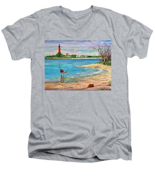 Ponce Inlet Lighthouse Men's V-Neck T-Shirt