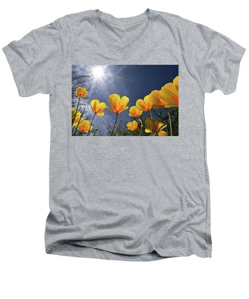 Poppies Enjoy The Sun Men's V-Neck T-Shirt