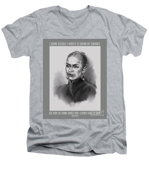 Portrait Of Frida Kahlo Men's V-Neck T-Shirt
