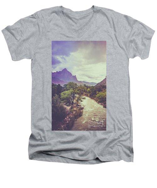 Postcard Image Men's V-Neck T-Shirt