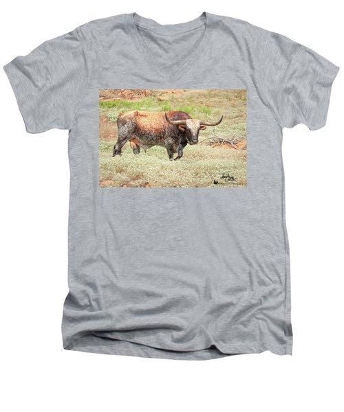 Prairie Longhorn Men's V-Neck T-Shirt